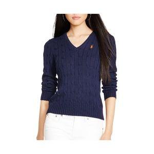 Ralph Lauren Hunter Navy Cable knit V Neck Sweater